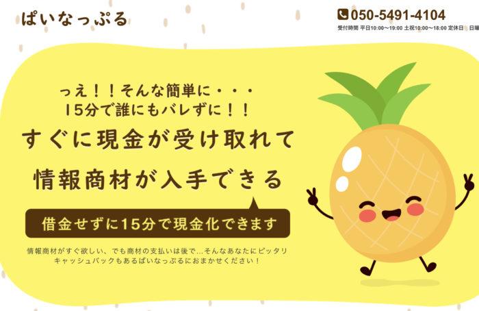 【ぱいなっぷる】後払い・ツケ払い現金化というサービスを調査!